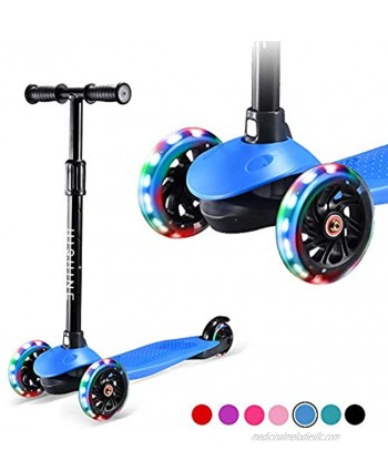 Kids Kick Scooters for Toddlers Boys Girls Ages 2-5 Years Old Adjustable Height Extra Wide Deck Light Up Wheels Easy to Learn 3 Wheels Scooters