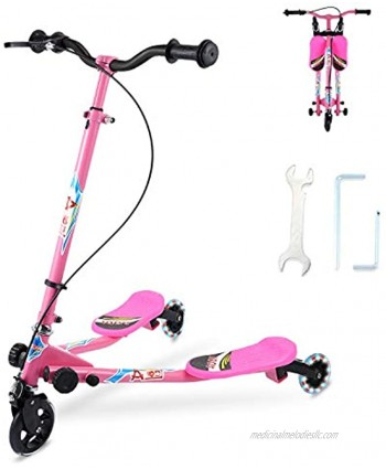 SANSIRP Swing Scooter for Kids 3 Wheels Wiggle Scooter Foldable Self-Propelling Drift Kick Speeder Scooter with 3-Level Adjustable LED Wheels for Boys Girls Ages 3-8