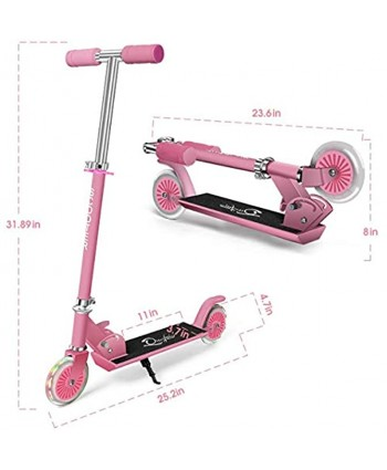 Sumeber Kick Scooter for Kids Ages 6-12 Adjustable Height Removable with PU LED Light Up Wheels Pink Scooters for Girls Birthday Gifts