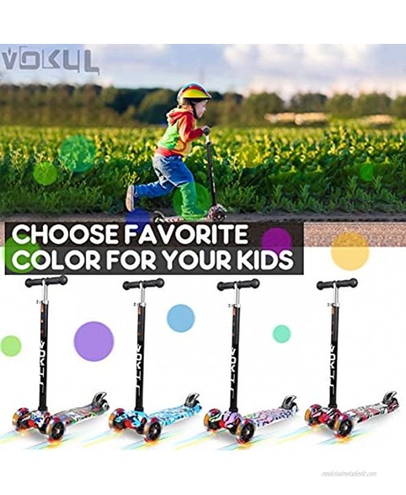 VOKUL Kick Scooter for Kids 3 Wheel Scooter for Toddlers Girls & Boys 4 Adjustable Height Lean to Steer with LED Light Up Wheels for Children