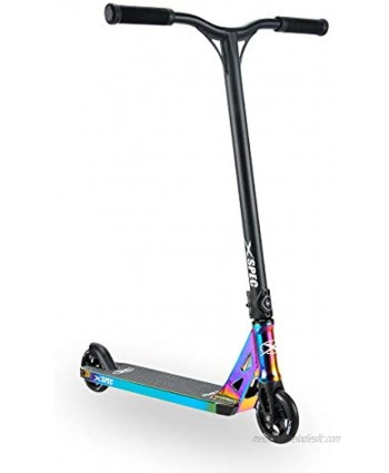 Xspec Complete Pro Stunt Kick Scooter with Freestyle BMX Handlebars 110mm Wheels & ABEC-7 Anodized Neo Chrome Purple Blue or Matte Black