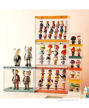 Ailisanila Compatible with Funko Pop Display Case,Clear Acrylic Display Box Storage for Collectibles Doll Car Toys Baseball Action Figure Rock StoneYellow