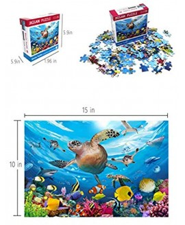 Koyiwa 100 Pieces Jigsaw Puzzle for Kids Age 4-8 Sea Turtle Swimming Fantastic Seaworld Educational Puzzle Toys for Toddler Children Boys and Girls 15 x 10 inch