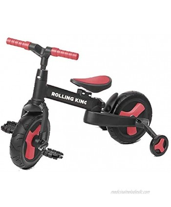 Rolling King 3-in-1 Convertible Children Bike for 2-5 Years Old Boys & Girls Starter Bike with Training Wheels Adjustable Seats Multiple Colors