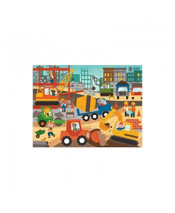 """Petit Collage Floor Puzzle Construction Site 24-Pieces – Large Puzzle for Kids Completed Construction Jigsaw Puzzle Measures 18"""" x 24"""" – Makes a Great Gift Idea for Ages 3+"""