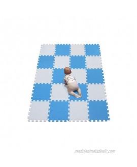 YIMINYUER Waterproof Interlocking Soft Eva Foam Mats Pads Room Garage Floor Tiles Mat Set Kids Baby Play Puzzle Yoga Fitness Gym Exercise Mats White Blue R01R07G301020