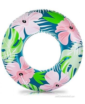 COLOAPT Inflatable Pool Floats 35.4 inches Floating Ring for Kids and Adults Swimming Ring with Plants and Flowers Pool Tubes for Lake Beach Party and Gift