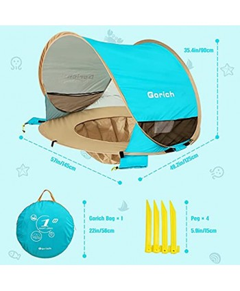 Gorich Baby Beach Tent with Pool Pop Up Beach Tent UPF 50+ Large Baby Beach Tent with UV Protection Portable Baby Beach Shade Tent Sun Shelter Kiddie Pool with Canopy for Infant Toddler