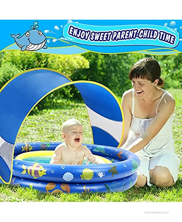 Inflatable Baby Pool Annular Kiddie Pool with Removable Sunshade Canopy Summer Ocean Two Rings Blow Up Kids Shade Pool for Toddlers Indoor&Outdoor Backyard Fun