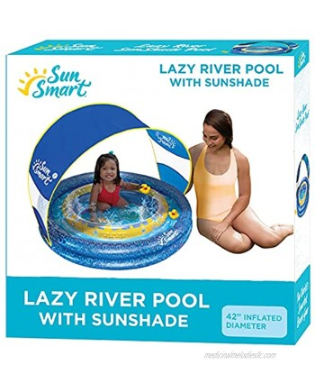 SunSmart Lazy River Kiddie Pool with Two Toy Duckies Inflatable Kids Pool with Removable UPF50 Sunshade Canopy