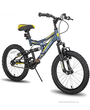 JOYSTAR Contender 18 & 20 Inch Kids Mountain Bike for Boys & Girls Featuring Small Steel Full Dual-Suspension Frame and 1-Speed Drivetrain with Kickstand Included Blue Black