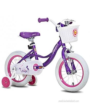 "JOYSTAR Fairy 12"" 14"" 16"" 18"" Inch Kids Bike with Training Wheels for 2-9 Years Old Girls Corel & Pink Purple"