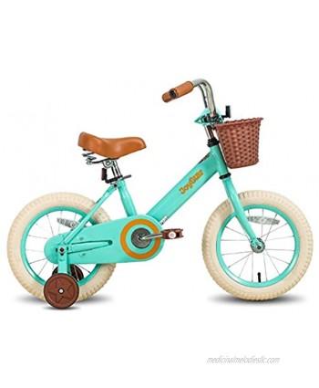 JOYSTAR Vintage 12 & 14 & 16 Inch Kids Bike with Basket & Training Wheels for 2-7 Years Old Girls & Boys Green Ivory & Pink