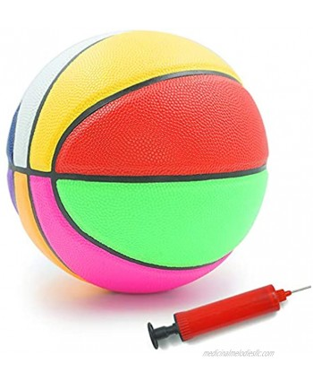 Aoneky Rubber Size 3 Size 5 Basketball Colorful Rainbow Ball for Kids Aged 3-10 Years Old Girls Boys Mini Sport Ball Toy Ball Pump Included