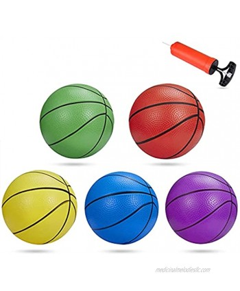 BESTTY 6 Inches Colorful Toddler Kids Replacement Mini Toy Basketball Rubber Baketball for Kids Teenager Basketballs 5 PCS with 1 Air Pump