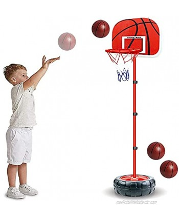 Kids Basketball Hoop Stand Adjustable Height 2 in 1 Indoor Basketball Hoop Outdoor Toys Outside Backyard Games Mini Hoop Basketball Goal Gifts for Boys Girls Toddlers Age 3 4 5 6 7 8