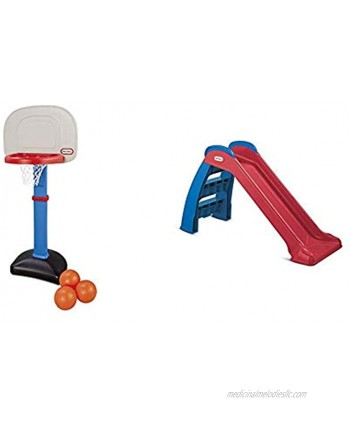 Little Tikes Easy Score Basketball Set Blue 3-Balls and First Slide Red Blue Bundle