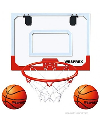 """WESPREX Indoor Mini Basketball Hoop Set for Kids with 2 Balls 16"""" x 12"""" Basketball Hoop for Door Wall Living Room and Office Use with Complete Accessories Basketball Toy Gift for Boys and Girls"""
