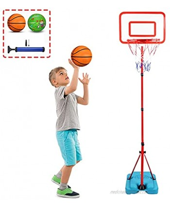 YAPASPT Kids Basketball Hoop Stand Adjustable Height 2.9 FT -6.2 FT Indoor& Outdoor Basketball Hoop Toys Games Hoop Basketball Gifts for Boys Girls Age 3-10 Years Old Birthday Christmas Party