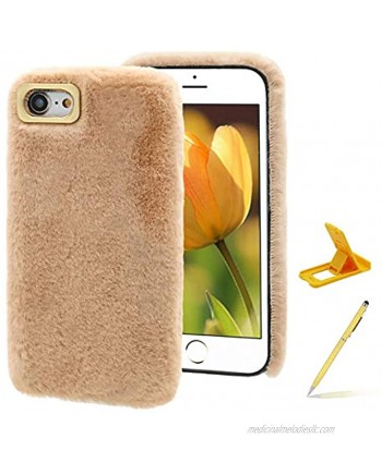 Herzzer Plush Case for Moto G Power 2021,Warm Winter Cute Short Fluffy Furry Faux Fur Fabric Girly Flexible Soft Silicone Shockproof Back Cover,Khaki