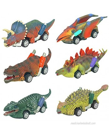 Dinosaur Car Toys for 3-10 Year Old Boys Girls Pull-Back Dinosaur Cars Toys Set Dinosaur Birthday Party Supplies Favors for Kids Toddlers Boys Girls Animal Vehicles dinosaur party favors 6 Pack