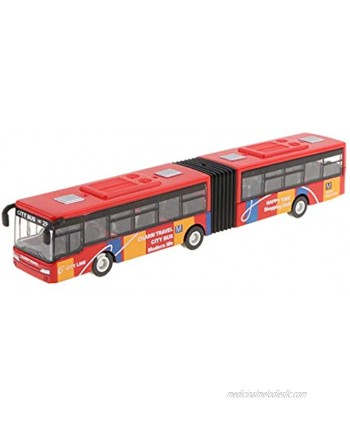 DYNWAVE Friction Powered Pull Back and Go Car Articulated Bus for Kids Toddler Boys & Girls Aged 2 3 4 5 Year Old Birthday Gifts Red
