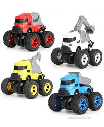 Jeauseul Engineering Car Toys Pull Back Cars Construction Trucks Toys Gifts for Kids Friction Powered Toy Cars Push and Go Vehicles for Kids Best Christmas Birthday Party Gift