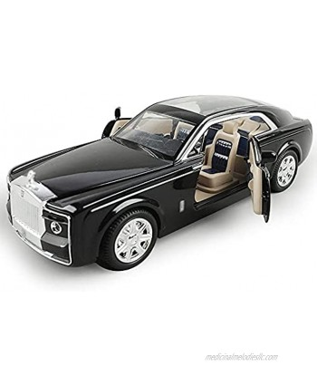 LQZCXMF Rolls-Royce Phantom Model Car 1 24 Scale Boy Toy Car Sound and Light Alloy Die-Casting Car Model Rubber Tire Pull Back Car Desk Decoration is The Best Gift for Teenagers