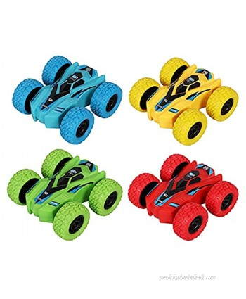 Pull Back Cars Double-Sided Friction Powered Vehicles Flips Shockproof Inertia Cars Pull Cars for Boys Girls Toddler Birthday Gift Age 3+ Years Old4PCS