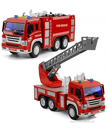 2Pcs Fire Trucks Toy for Boys Gizmovine Construction Toys Vehicles with Lights Siren Sounds  Extending Rescue Rotating Ladder Fire Engine Truck for Toddlers 2 3 4 Year Old