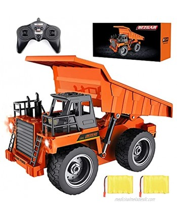 BEZGAR Remote Control Construction Dump Truck Toy 6 Channel RC Dump Truck Toys RC Construction Truck Vehicle Toys with 2 Rechargeable Batteries TK183