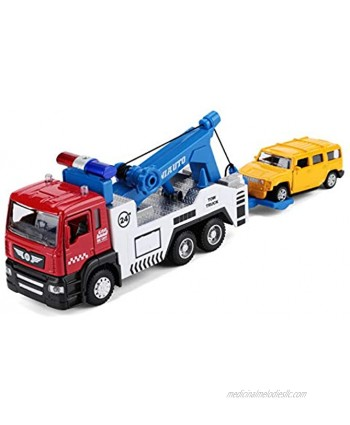 diecast Model Tow Truck Toy,zinc Alloy Casting Pull Back Toy Vehicles,with Lights and Music Kids Toy Gift