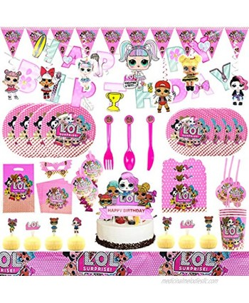 171 pieces of LOL party gift party decoration LOL birthday party supplies tablecloth birthday party gift set