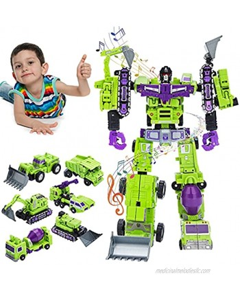 5-in-1 Construction Vehicles Transform into Robot Action Figures Assemble into Giant Pull-Back Truck for Kids Boys & GirlsGreen