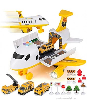 Car Toy Set Cargo Plane with Mini Educational Vehicle Construction Car Set Transport Airplane Toys w Lights & Sounds for 3+ Years Old Boys and Girls Kids Child Birthday Party Favor Gift