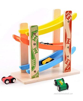MrSure Ramp Race Track Toys with 4 Wooden Mini Cars Wooden Car Game for Toddlers Preschool Educational Gift for Boys and Girls