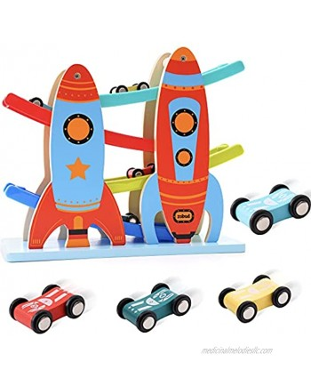 ROBUD Toy Car Ramp Toddler Race Track Toy with 4 Cars Ramp Racer Toy Kids Toy Vehicle Playsets