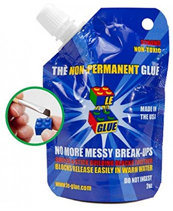 Le Glue Temporary Glue – Non-Permanent Adhesive for Plastic Building Blocks No More Messy Break-Ups – Safe Non-Toxic Formula – As Seen on Shark Tank Created for Kids by a Kid