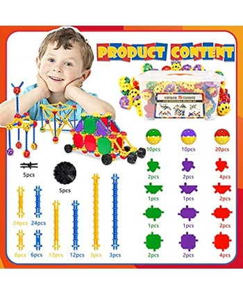 STEM Building Toys for Kids Ages 4-8 Educational STEM Learning Toys with Storage Box STEM Tinker Toys Kit Fun Blocks Creative Construction Engineering Toy Gift for Boys & Girls 164 Pcs