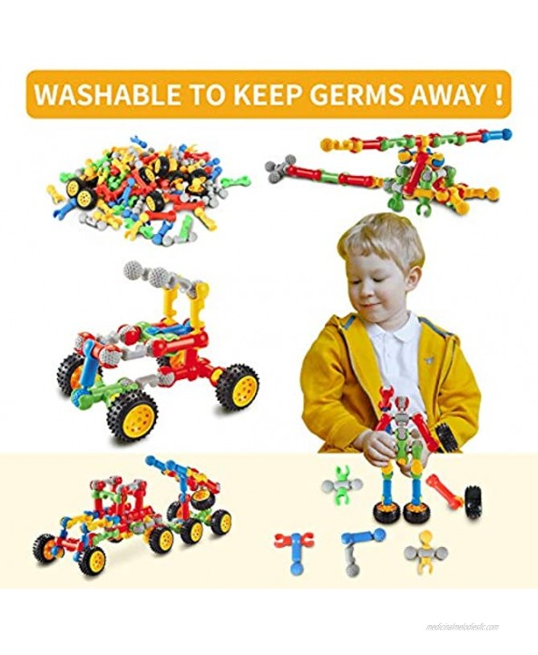 STEM Toys Building Blocks for Kids,INSHER 125 Pcs Educational Construction Building Toys Preschool Learning Toys Engineering Creative Game Gifts for Ages 3-10 Year Old Boys Girls