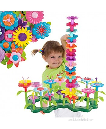 ToyVelt Flower Garden Building Toys for Girls 148 pcs Floral Arrangement playset Stem Toy Plus A Container Flower Toy for Kids Ages 3,4,5,6,7 Year Old