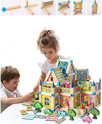 Building Blocks Toys for Kids 6 Years up  Wooden ,Variety of Shapes House Model Game Architect Building Blocks128pcs