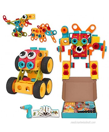 STEM Toys Building Blocks 223PCS DIY Educational Construction Set Creative Engineering Learning & Education Building Toys Kit for Kids Ages 4 5 6-7 8 9 10 Boys Girls with Electric Drill