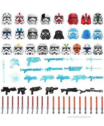 RuiyiF 63pcs Custom Sci-fi Style Toy Weapons Pack Accessories Kit for Building Block Figures Military Weapons and Armor Set Toy Gun Helmet Mask Sword Compatible with All Major Brand