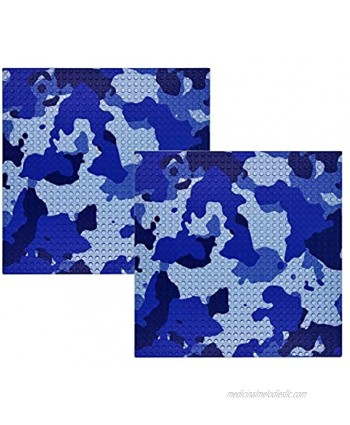 """Y-SPACE 2 Base Block Plates 32x32 pegs or 10"""" x 10"""" Classic Building Brick Plate Compatible with All Major BrandsBlue Camouflage"""