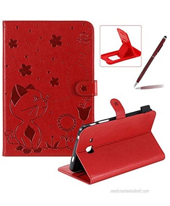 Herzzer Wallet Flip Casse for Samsung Galaxy Tab A 7.0 2016,Cute Cat Bee Floral Embossed PU Leather Folio Stand Case with Auto Wake Sleep Smart Magnetic Cover,Red