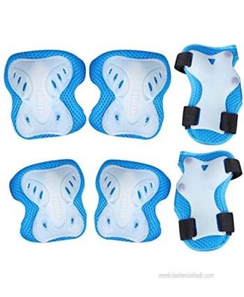 TOYANDONA 1 Set Kids Sport Protective Gear Bicycle Roller Skating Elbow Pads Wrist Guards Knee Pads for Kids Boys Girls Blue