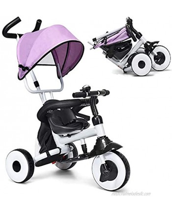 Baby Joy Tricycle for Toddlers Folding Trike w Adjustable Parent Handle Canopy Storage Bag Safety Harness & Wheel Brakes Baby Push Tricycle Stroller for Kids Boys Girls Aged 1-5 Years Old