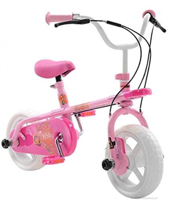Quadrabyke Kiss Kid's Cycle 10 inch Wheels 2 3 or 4-wheel design Girl's Bike Pink