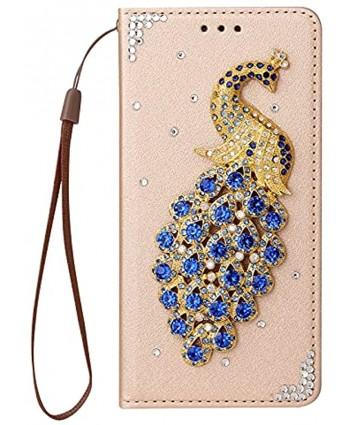 Gold Leather Glitter Case for Samsung Galaxy S21 Plus 5G,Strap Wallet Cover for Samsung Galaxy S21 Plus 5G,Herzzer Stylish Diamond 3D Handmade Crystal Soft Silicone Stand Flip Case,Blue Peacock